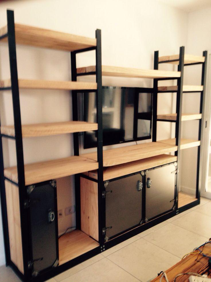 Mueble hierro y madera con estilo industial rustico for Mueble tv industrial