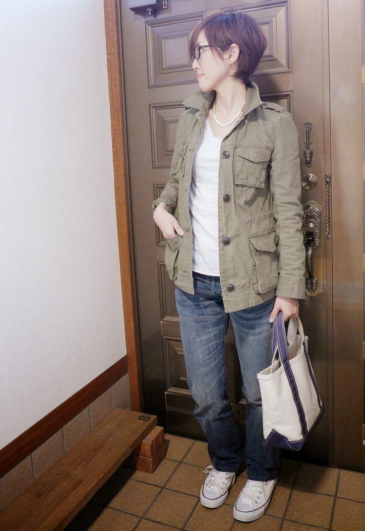 モコーデ: 3月29日 ミリタリージャケットとデニム、それから桜咲く休日