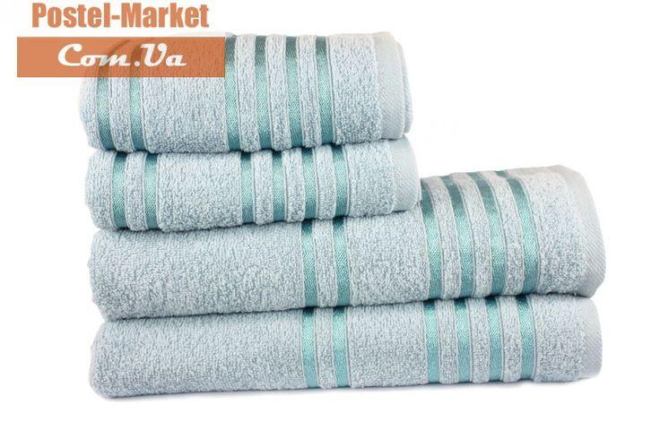 Купить Махровое полотенце LINE темно-голубое Izzihome в интернет магазине Постель Маркет ( Киев, Украина )