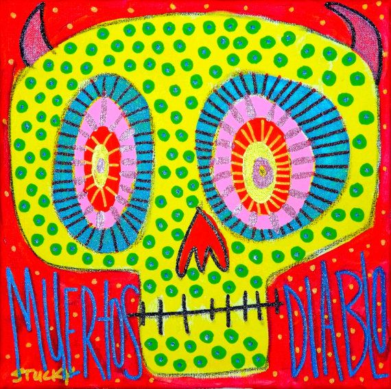 Diablo Muertos- Original painting by STUCKY 12x12 gallery wrapped stretched canvas original outsider folk pop art brut on Etsy, $95.00