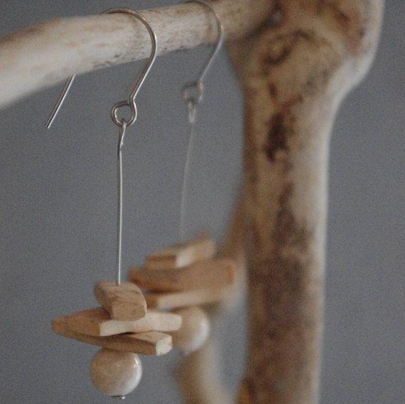Boucles d'oreilles en perles de coco et par AliceBurgyCreatrice
