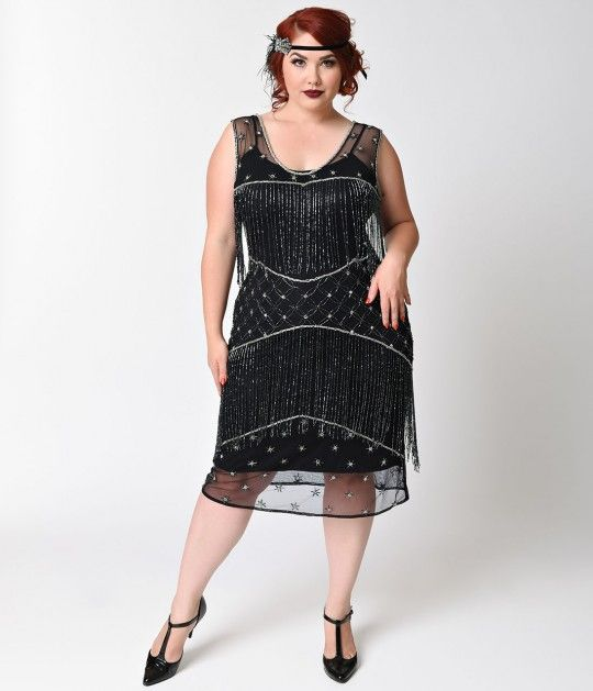 Dance to the soprano saxophone all night long! The Bechet Flapper is a striking sheer beaded plus size flapper dress that can only be found at Unique Vintage, complete in an intricate, black and silver beaded deco and fringe design. Given a modern fit whi