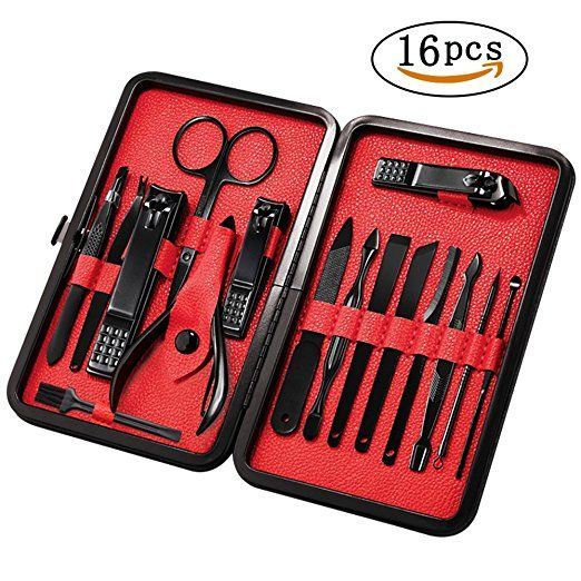 Mens Professional Pedicure Kit Nail Scissors Grooming Kit Best Offer 2017. Mens Manicure Set - Mifine 16 In 1 Stainless Steel Professional Pedicure Kit Nail Scissors Grooming Kit with Black Leather Travel Case (Red).  16 PIECES MA. #Mens #Professional #Pedicure #Kit #Nail #Scissors #Grooming #Kit