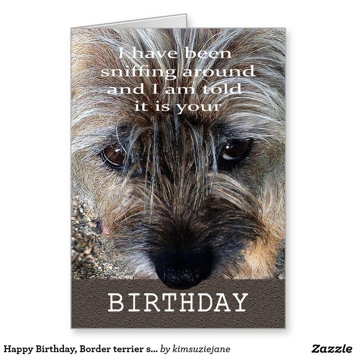 happy birthday border terrier sniffing around card