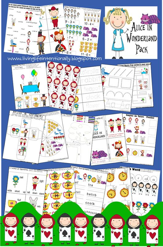 FREE Alice in Wonderland Worksheets with learning kids activities for Toddler - 2nd Grade