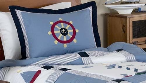 Come Sail Away Nautical Pillow Sham by Sweet Jojo Designs #KidsRoom #BotiqueBedding