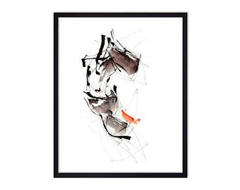 Black Horse, Abstract watercolor Painting Print by Josee Prudhomme TangoYourLife - High quality giclee prints - ink & watercolor - Abstract Painting - Abstract Calligraphy