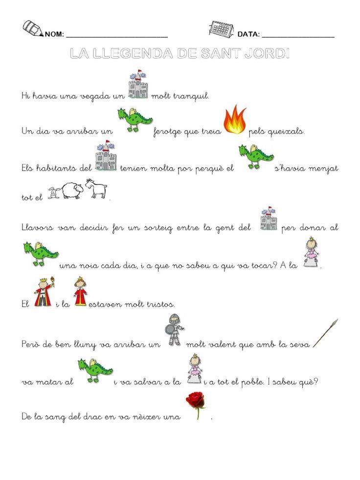 Llegenda de Sant Jordi amb pictogrames elaborada per Yolanda Cruel.