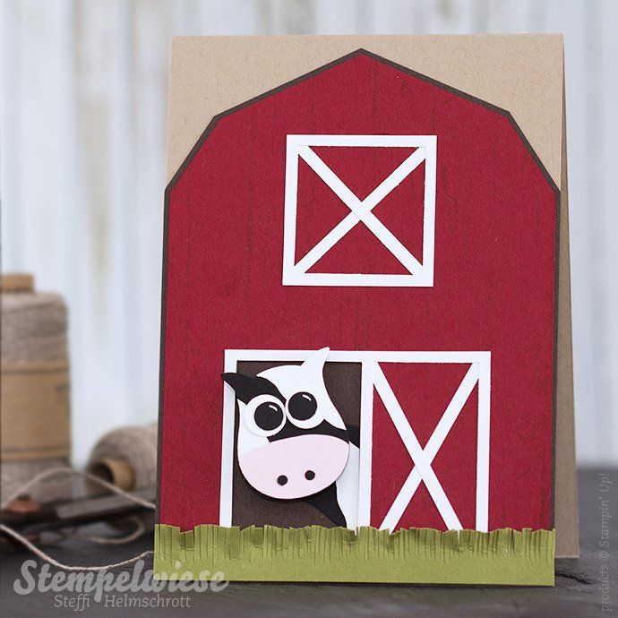 Stampin' Up! - Global Design Project - Punch Art - Owl Punch - Eulenstanzer - Cow - Kuh - Farm - Barn - Scheune ❤︎ Stempelwiese
