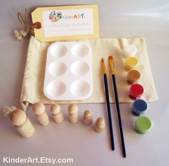 DIY Wooden Build a Family Wooden People Paint Kit in a Bag Arts and Crafts Kit for Kids