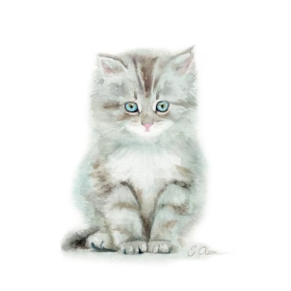 Original Watercolor Painting Watercolor Kitten Kitten Painting