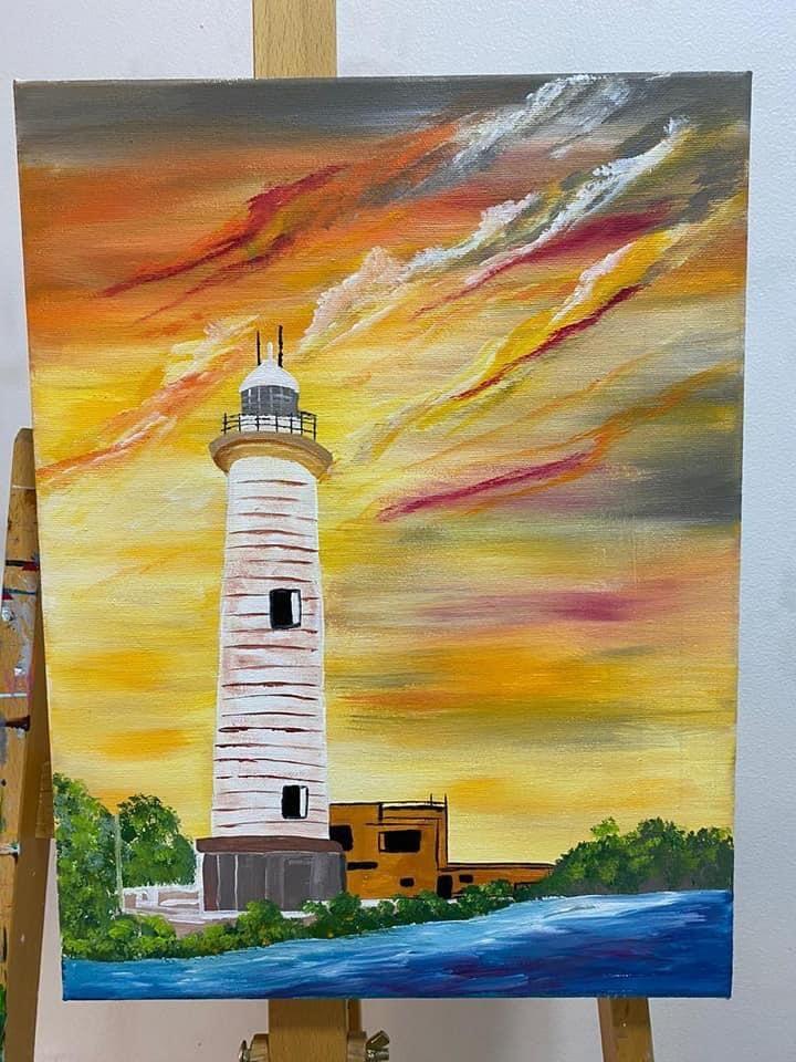 Galle Fort Lighthouse Srilanka Acrylic Painting Painting Acrylic Painting Galle
