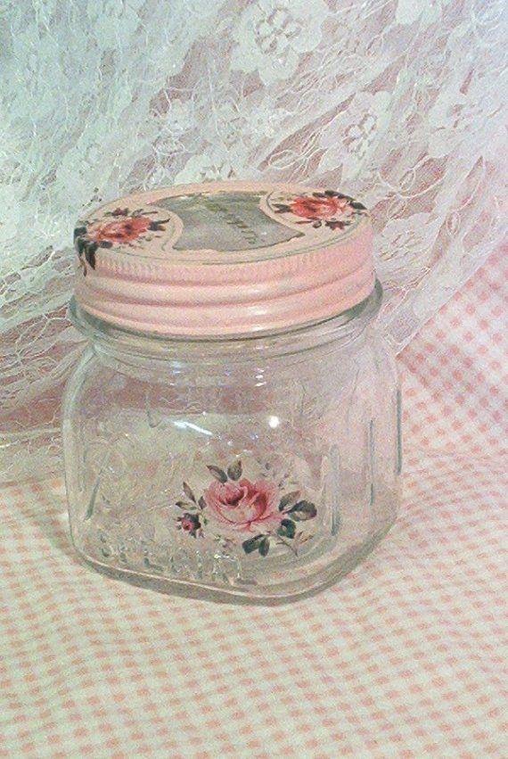 Ball Vintage rescatado pinta Squat jarra casa rosas por sparkklejar