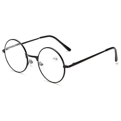 Skitic Unisexe Rond Métal Monture Loupe Lunette de Lecture en Charnieres a Ressort Noir Style Retro Reading Glasses +1 +1.5 +2 +2.5 +3 +3.5…