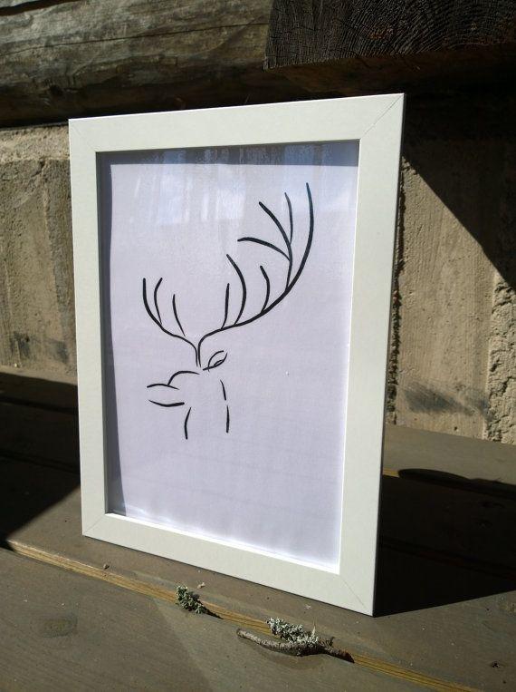 Deer art Deer print wall art baby room decor by MayaDesignFinland