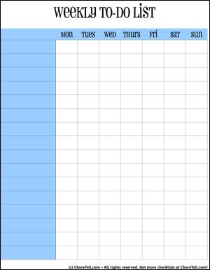 Free Simple weekly to-do lists/charts. In blue or coral