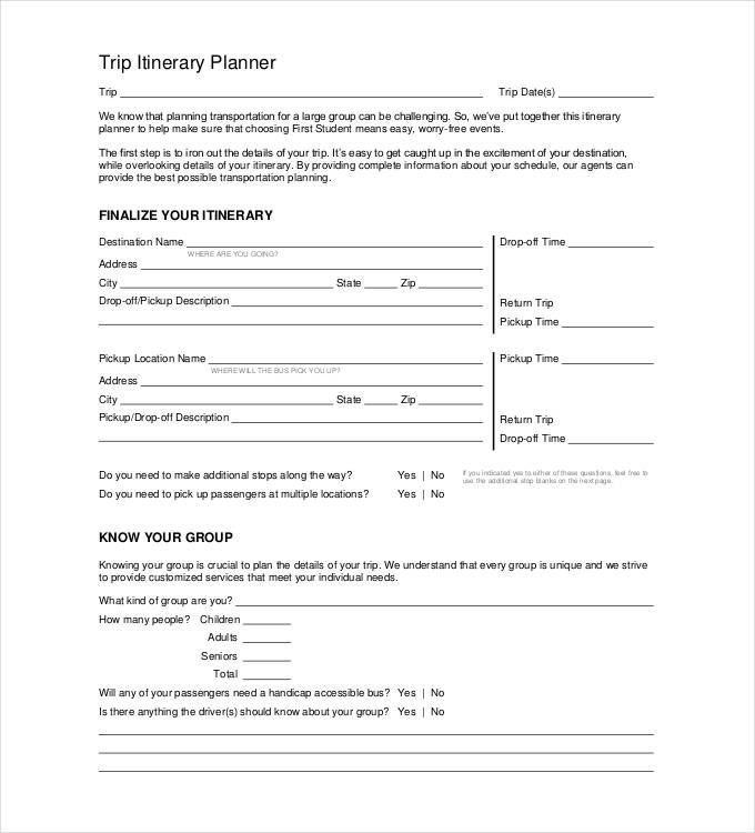 26 Trip Itinerary Templates Pdf Doc Excel Itinerary Planner
