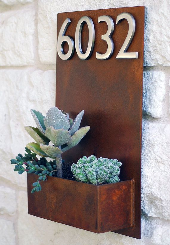 "Succulent Hanging Planter & Metal Address Plaque - 20"" x 12"" Vertical Wall Planter with (4) Satin Nickel Address Number"