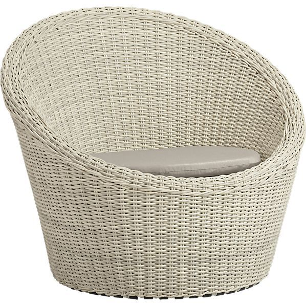 Calypso White Swivel Lounge Chair with Sunbrella® Stone Cushion in Toulon | Crate and Barrel
