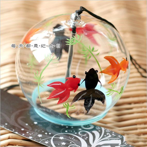 Handmade Glass Wind Bell Japanese Wind Chime by KNIKlampwork, $9.99