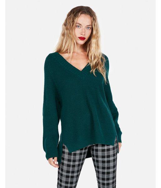 17f04640b Petite Oversized Shaker Knit Deep V-Neck Tunic Sweater Green Women s XL  Petite