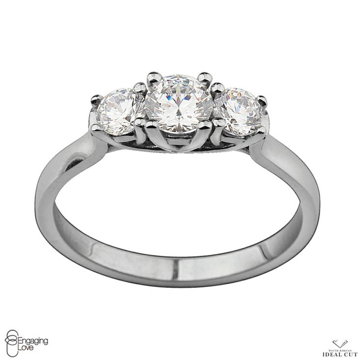 18ct White Gold 3 Stone Petit Trilogy Engagement Ring
