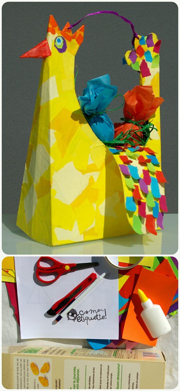 Une boîte de céréales ☞ un panier poule pour ramasser les œufs de Pâques ! Explications ici : www.c-monetiquette.fr/atelier-poule