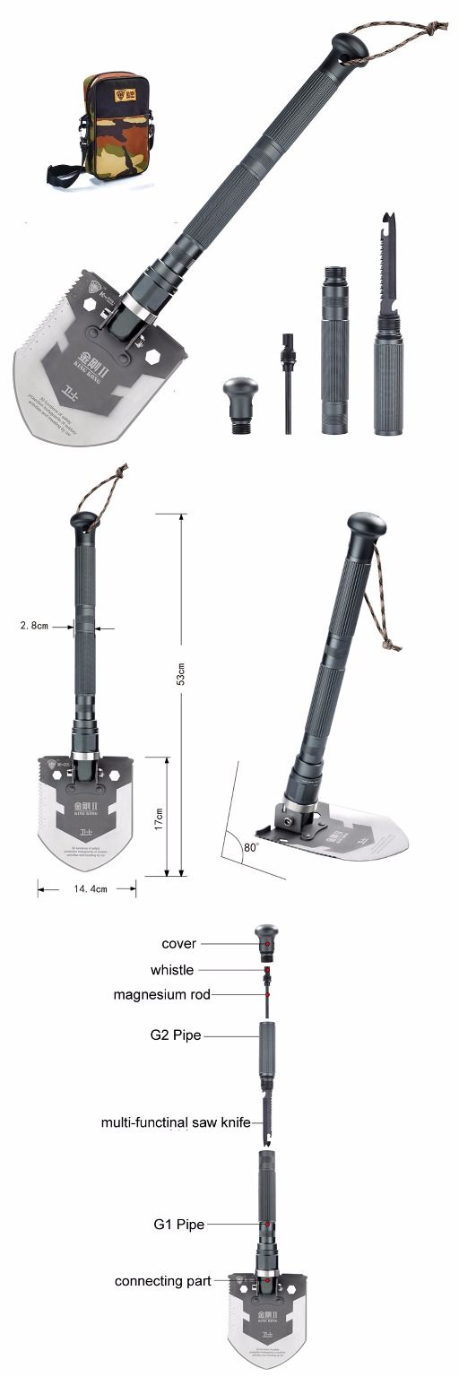 Pagreberya Compact Outdoor Folding Shovel with Knife and Fire Starter - Perfect for Snow Shovel, Entrenching Tool, Auto Emergency Kit, Survival Axe, Camping Multitool @aegisgears