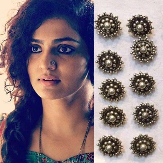 Silver Nose Ring Indian Nose Ring Boho Piercing Flower Nose