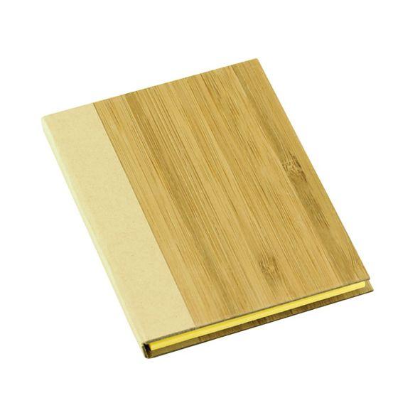 COD.BU035 Memo Set con Tapas Duras enchapadas en madera de Bambú. Incluye 50 post-it amarillos grandes, 25 post-it amarillos medianos y 125 banderitas adhesivas de colores.