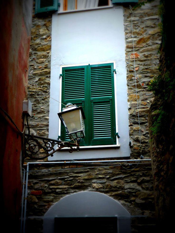 Italian green shutters Manarola - Cinque Terre