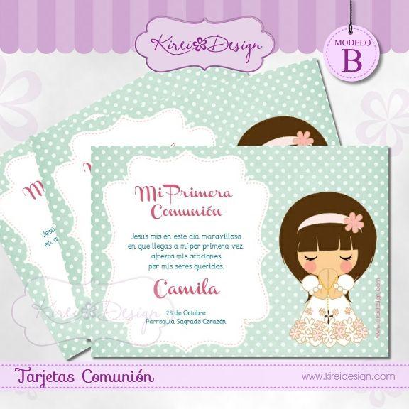 Printable tarjeta para comunion ni as modelo mizuki b en - Como hacer tarjetas para comunion ...