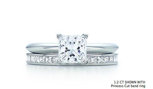Princess Cut Solitaire Engagement Ring w/ Diamond Wedding Band.  I think I found the band I want. It'll go good with my 1ct princess cut solitaire!