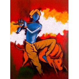 A Painting of Lord Krishna and Holy Cow