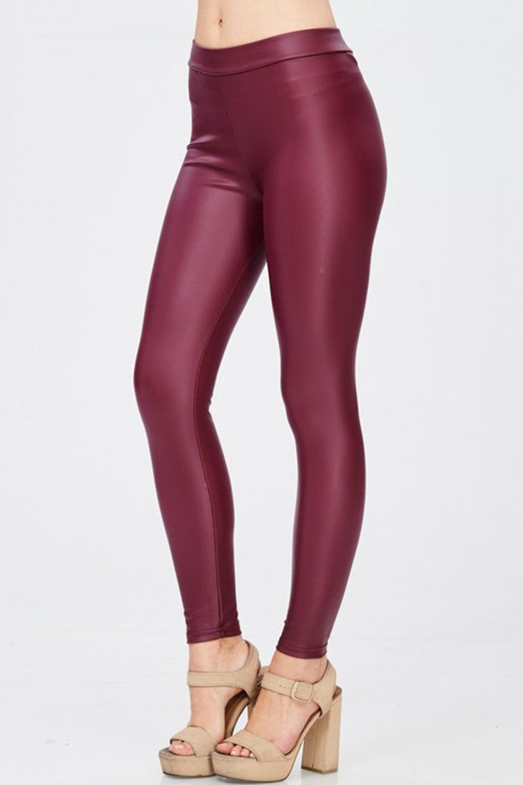 91a6c402a3575 Solid Faux Leather Gloss Matte Leggings in 2019 | burgundy faux leather  leggings | Leggings, Faux leather leggings, Leather