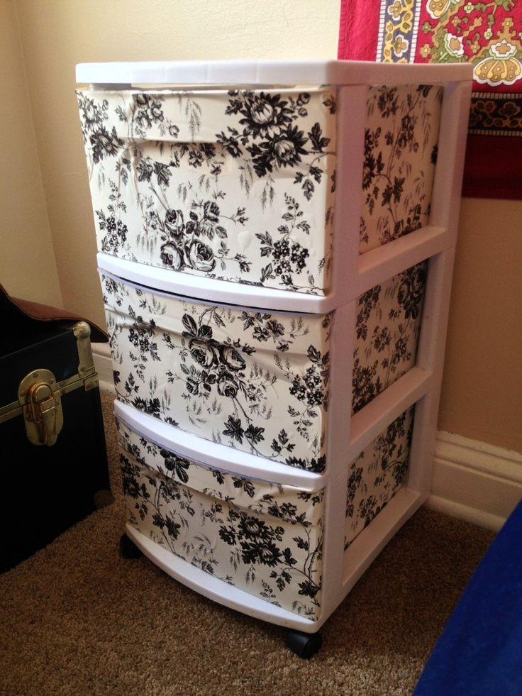 Use self adhesive book cover from Dollar store #DIY I could get two and attach a plank and be a desk with storage