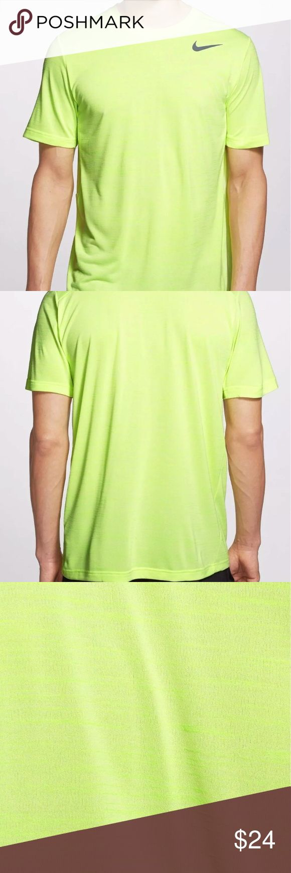 """NEW Nike DriFit """"Touch"""" Heathered  Volt Tee,NWT!!! Nike Dri-FIT Touch Ultra-Soft Men's T-Shirt Volt/Black 742228-702 Nike Dri-FIT Men's Training Short-Sleeve Shirt is easy on your skin with ultra-soft fabric that keeps you pushing the limit in lightweight comfort.  •Dri-FIT fabric helps keep you dry and comfortable •Six-panel design with interior taping for a comfortable fit •Embroidered eyelets and perforations for breathability •Adjustable strap for custom fit •Fabric: Dri-FIT…"""