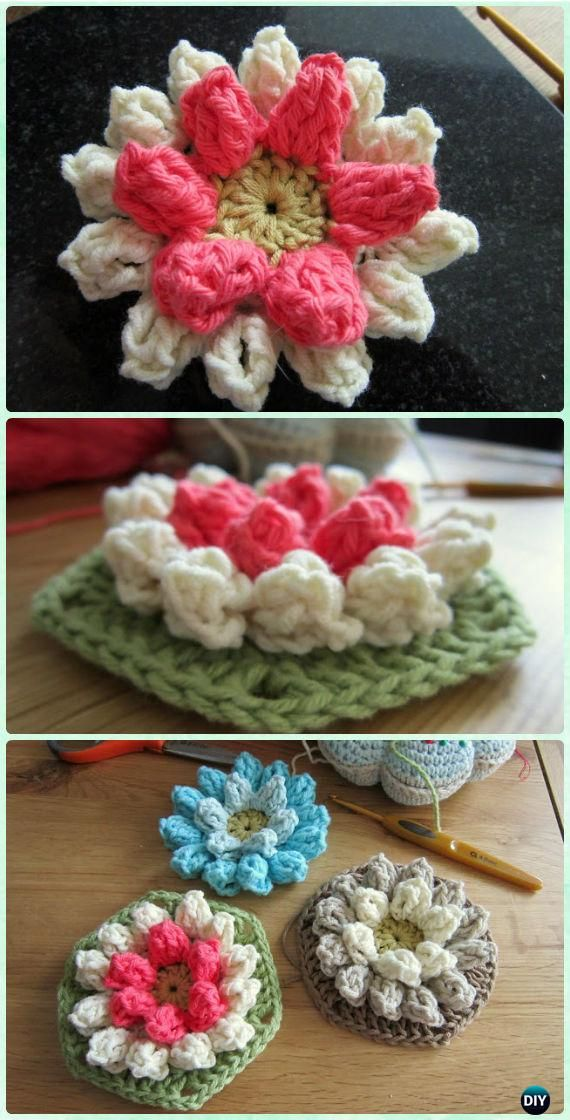 Crochet Lily Pad Hexagon Flower Motif Free Pattern - #Crochet Hexagon Motif Free Patterns