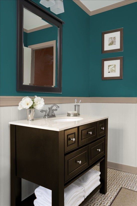 Teal powder room bathrooms pinterest teal bathroom for Powder room color ideas