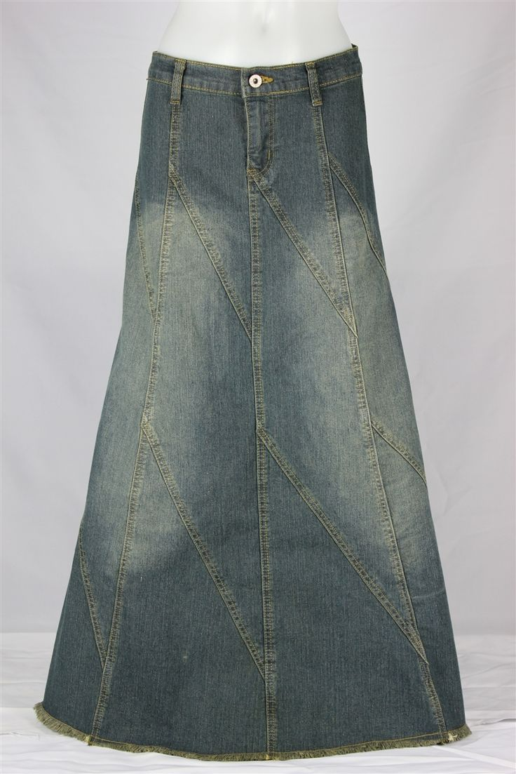 Flared Lines Vintage Long Jean Skirt, Sizes 2-16