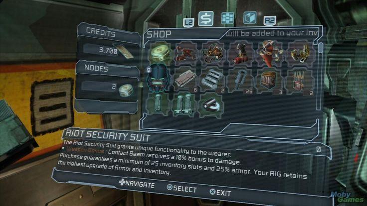 Dead Space 2 shop interface