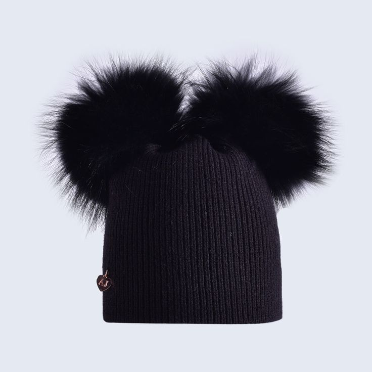 Adult double fur pom pom bobble hat in Black Fine rib knit double raccoon fur pom pom hat