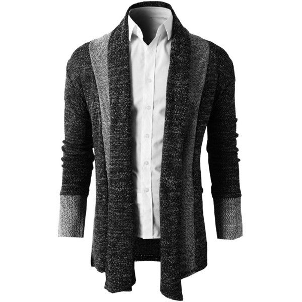 H2H Mens Casual Slim Fit Knit Cardigan with Double Shawl Collar ($32) ❤ liked on Polyvore featuring men's fashion, men's clothing, men's sweaters, mens slim fit sweater, mens knit sweater, mens shawl collar sweater, mens shawl collar cardigan sweater and mens cable knit cardigan sweater