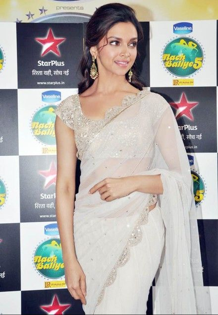 #Deepika Padukone style White Pure #Silk #Bollywood #Saree with Blouse
