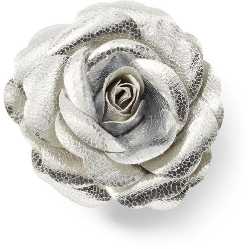 Silver Metallic Rose Pin Clip
