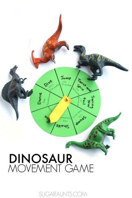 Dinosaur gross motor movement game based on the book, Dinosaurumpus!