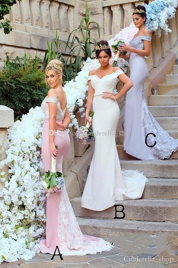 6561f4971ba5 New Design 2018 Lace Mermaid Bridesmaids Dresses Off Shoulder Sweep Train  Appliques Maid Of Honor Wedding Guest Gowns Cheap Customized Online  Bridesmaid ...