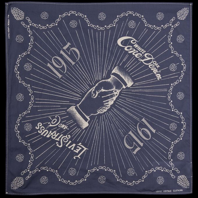 "Designed as part of Levi's Golden Handshake collection, in celebration of the 100-year partnership between Levi's and Cone Denim Mills, this beautiful bandana is a piece of history. -100% cotton. -Handshake graphic design. -Finished edges. -19.5""x19""."