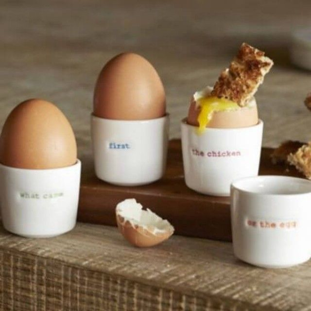 Make International Keith Brymer Jones Set of 4 Egg Cups - What Came First The Chicken or the Egg?