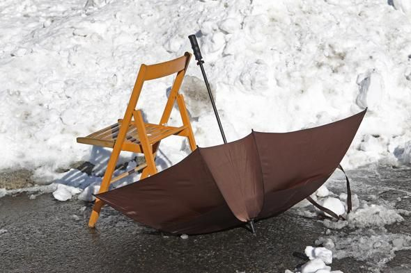 An umbrella and chair combo saved a parking spot in South Boston last winter.